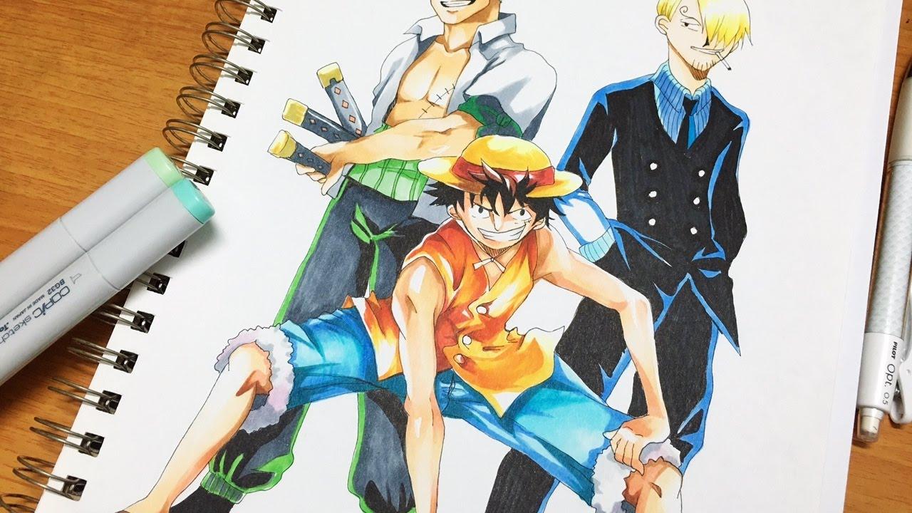 ONE PIECE-Luffy, Zoro, Sanji SPEED DRAW - YouTube  One