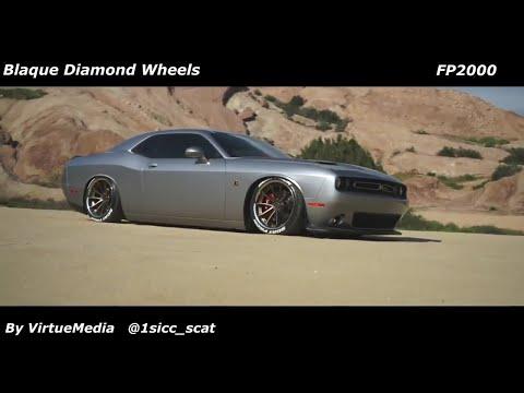 Bagged Dodge Challenger ScatPack Srt on Blaque Diamond Wheels