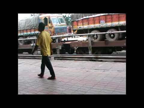 TRUCKS ON TRAIN -RORO  -Madgaon Junction railway station- Konkan Railway