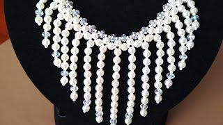 Tutorial: beaded necklace. Колье из бусин. Мастер-класс