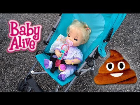 Baby Alive Doll Beatrix goes on a Park Outing and gets Poop Emoji Pillow