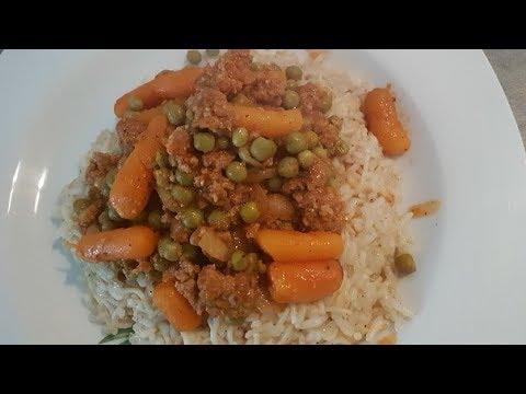 riz-petit-pois-viande-hachee-plat-libanais