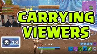CARRYING TWITCH STREAMERS AND VIEWERS!? HIGH KILL SQUAD GAMES | Fortnite Battle Royale