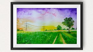 Easy Sunset Watercolor Painting For Beginners Sky Landscape / How to paint Scenery Farm Trees Rural