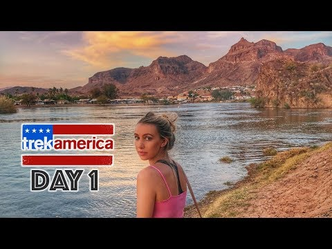 TREK AMERICA DAY 1: LA TO ARIZONA // WESTERN WONDER FROM LOS ANGELES USA ROAD TRIP - TRAVEL VLOG