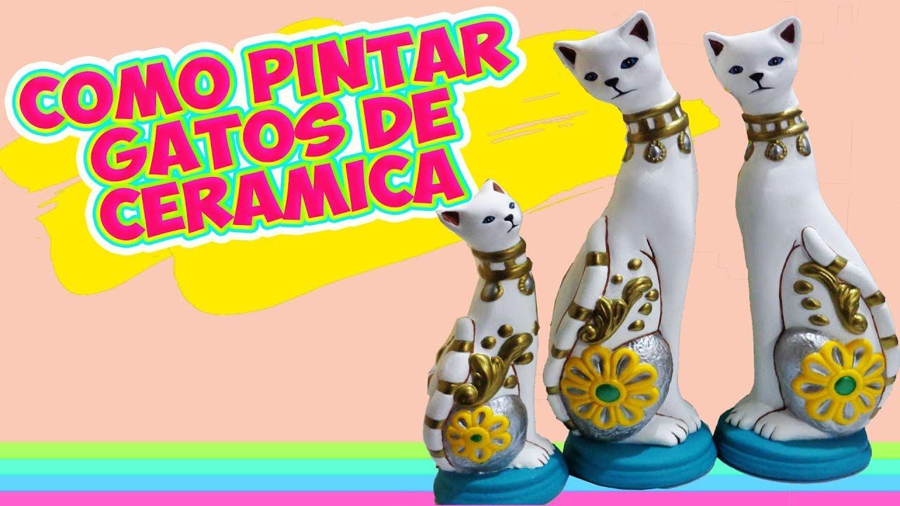 Como pintar gatos de cer mica diy manualidades youtube for Como pintar jarrones de ceramica