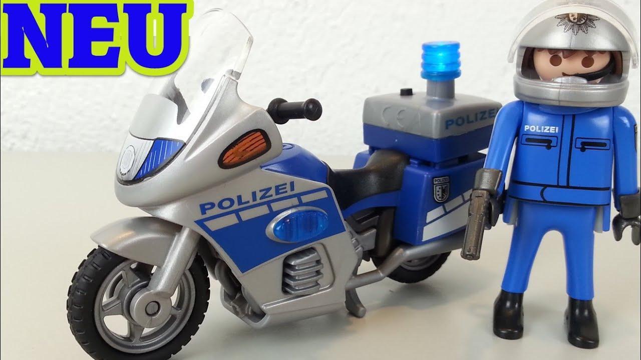 playmobil polizei motorrad streife mit led blaulicht