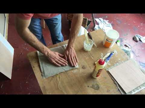 How to make a painting surface by mounting linen on wood #1