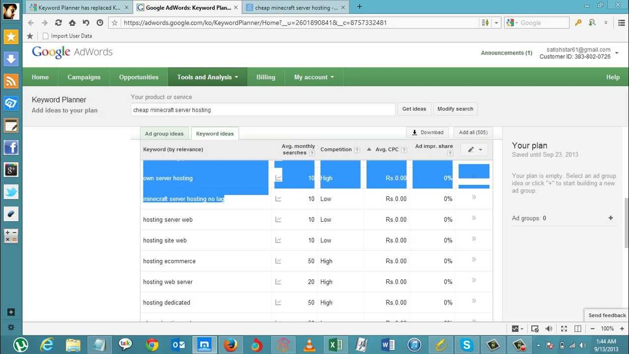 how to find low competition and high cpc keywords with google