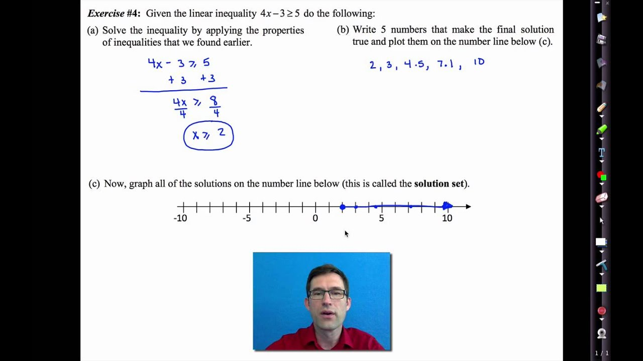 Common Core Algebra I Unit 2 Lesson 9 Solving Linear Inequalities