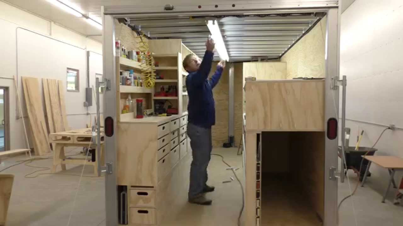 Enclosed Trailer Shelving >> BUILDING A MOBILE WOODSHOP (Part 29) Lights, air, action. - YouTube