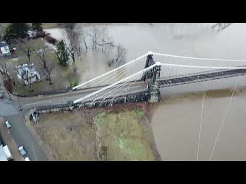 Aerial video of Wheeling, WV flood