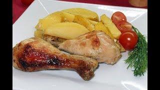 Курица в кефире с картошкой, запеченная в духовке. Очень вкусная и нежная!