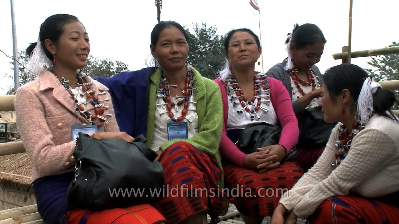 Attractive Ao Naga tribes-women from Nagaland sit around and chat
