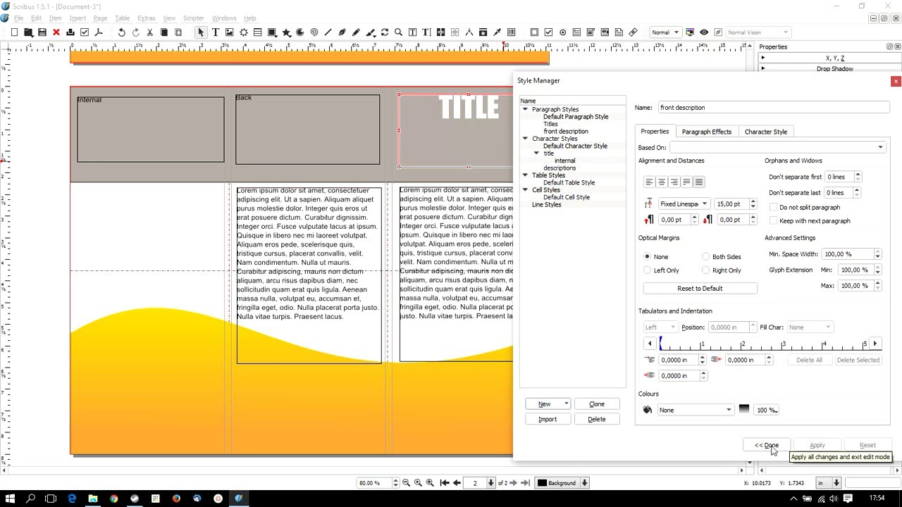 Scribus 1.5.1 - how to make a trifold brochure - YouTube