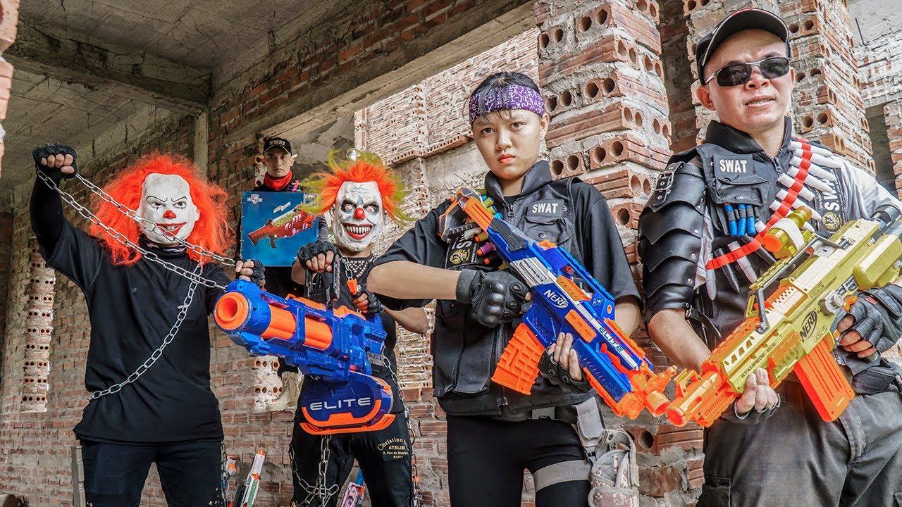 Gugu Nerf War : Couple Cid Dragon Nerf Guns Fight XICMAN Premium Bounty Hunters