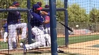 Russell Wilson Hits Home Run During Rangers Batting Practice