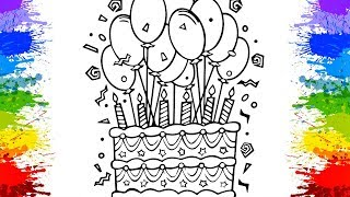 Colorindo Bolo de Aniversário 100k Subs Cake Coloring Pages Learn Colors for kids Videos Educativos