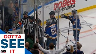 GOTTA SEE IT: Binnington & Blues Furious After Sharks Win Game 3 On Controversial OT Goal