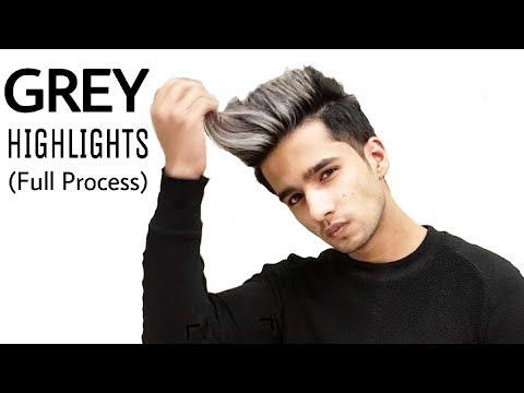 Grey Highlights On Black Hair Men Silver Platinum Grey