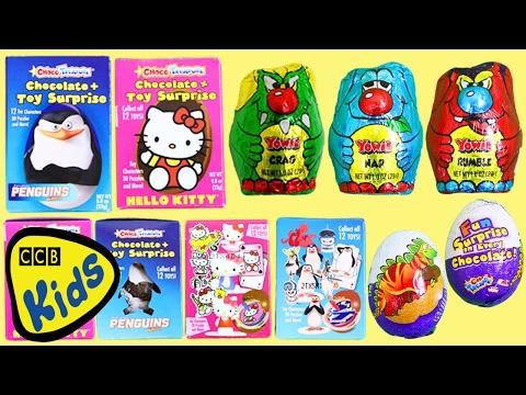 20 Hello Kitty Pinguins de Madagascar Ovos Kinder Choco Treasure Surprise Brinquedos Unwrapping!