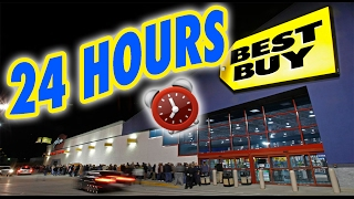 Scary!  24 Hour Overnight In Best Buy | Locked Overnight Challenge In Best Buy Fort!
