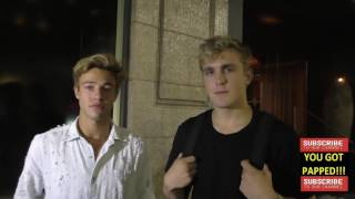 Cameron Dallas and Jake Paul talks about new TV Series they are filming as they leave Katsuya Restau