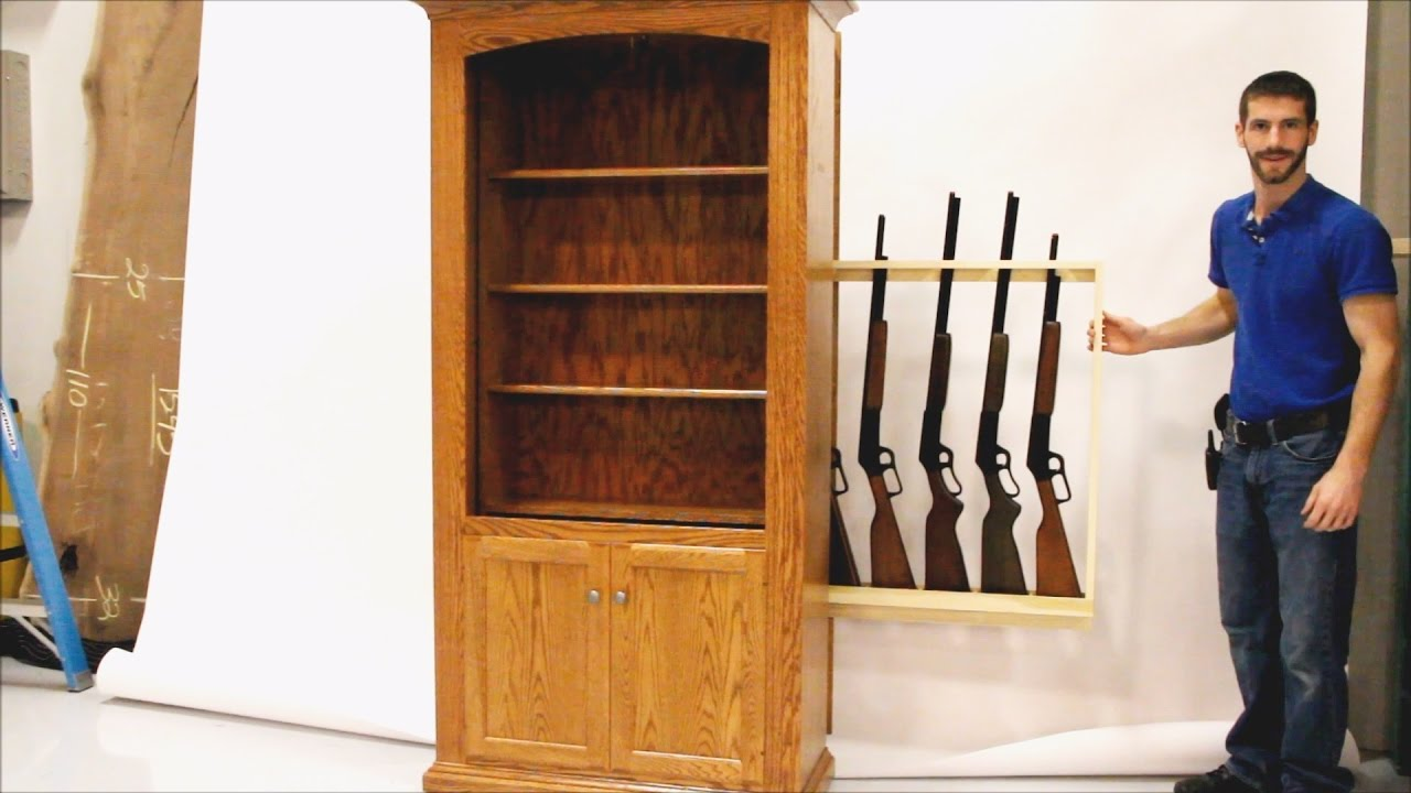 Hidden Gun Storage Bookcase - Country Lane Furniture - YouTube