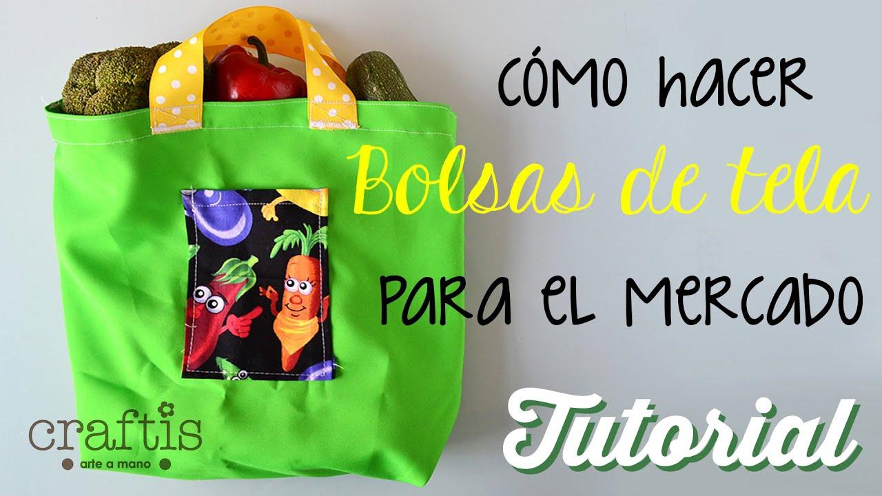 aa8ad3c77 Tutorial: Cómo hacer bolsas de tela para el mercado - YouTube