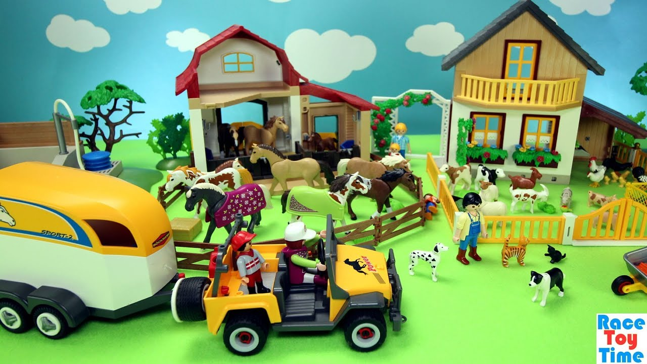 Playmobil Horse Stable and Farm Animals Barn Fun Toys For ...