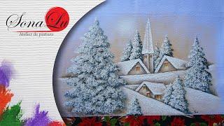 Paisagem com Neve em Tecido por Sonalupinturas
