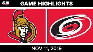 NHL Highlights   Senators vs. Hurricanes– Nov. 11, 2019