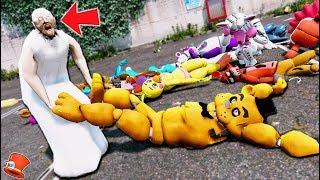 GRANNY DESTROYS ALL THE ANIMATRONICS! NO MORE ANIMATRONICS! (GTA 5 Mods FNAF Kids RedHatter)