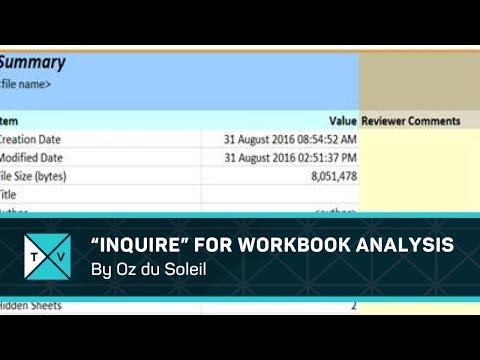 Inquire Workbook Analysis Tips in Excel Pro Plus