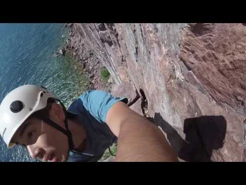 "Rock Climbing ""Danger High Voltage"" at Palisade Head in Tettegouche State Park, Minnesota"