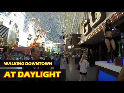 Walking in Downtown Las Vegas at daylight - Fremont Street Experience in 4K HD