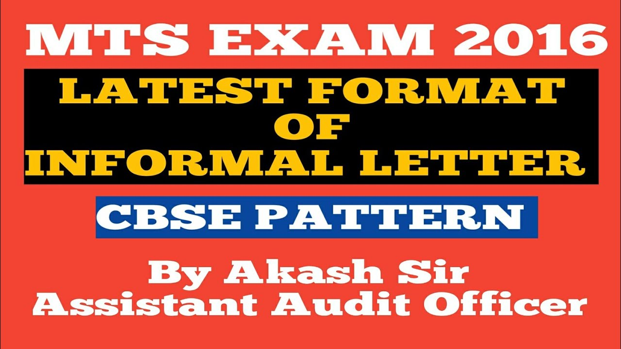 Ssc Mts 2016 Latest Format Of Informal Letter Cbse Pattern Youtube