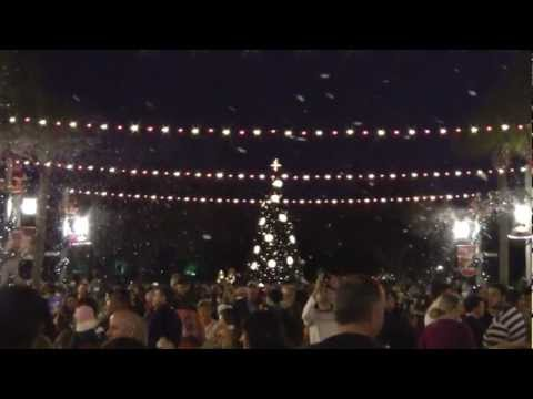 Town of Celebration Florida at Christmas time and snow