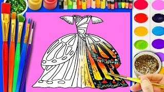 How to Draw Pretty Dress for Barbie Coloring Page for Kids to Learn to Color with Watercolor Paint