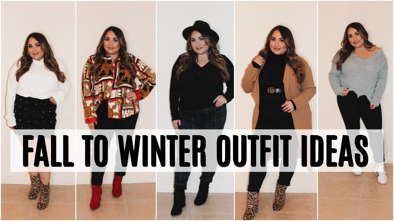 FALL TO WINTER PLUS SIZE OUTFIT IDEAS | HOW TO DRESS AND APPLE SHAPE BODY