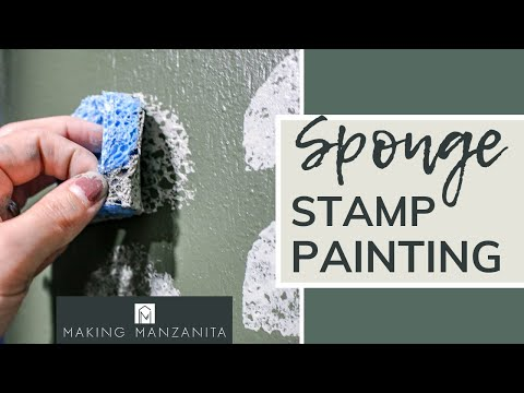 sponge-stamp-painting- -cheap-&-easy-pattern-for-accent-walls-or-furniture