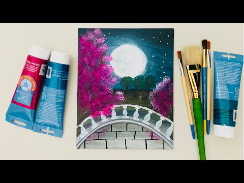 -MoonLight Night Landscape Painting| Step By Step Acrylic Painting Tutorial for Beginners