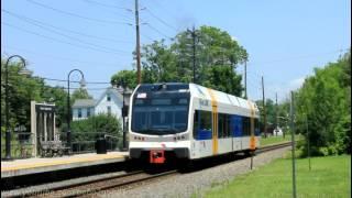 NJ Transit River Line: Diesel LRT train at Beverly-Edgewater Park (Stadler GTW DMUs)