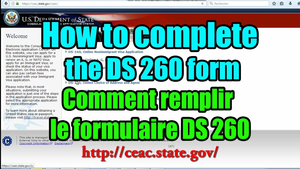 Comment remplir le formulaire DS 260 DV LOTTERY (How to complete ...