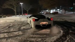 SUPERCARS DRIFT IN THE SNOW! DO NOT Try this At Home! ( Ferrari, Supercharged Lamborghini, Porsche )