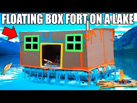 24 HOUR BOX FORT BOAT ON A LAKE!! 📦💧FISHING, HUGE WAVES, REAL SHOWER & 3:00AM SCARY ISLAND 😱