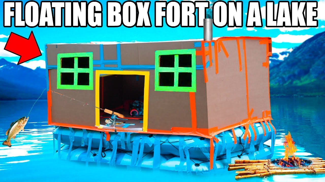 24-hour-box-fort-boat-on-a-lake-fishing-huge-waves-real-shower-3-00am-scary-island
