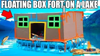 24 hour box fort boat on a lake fishing huge waves real shower 3 00am scary island