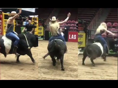 HOLLY HOLM GETS BUCKED OFF A BULL! DOES VERY GOOD FOR HER FIRST TIME!