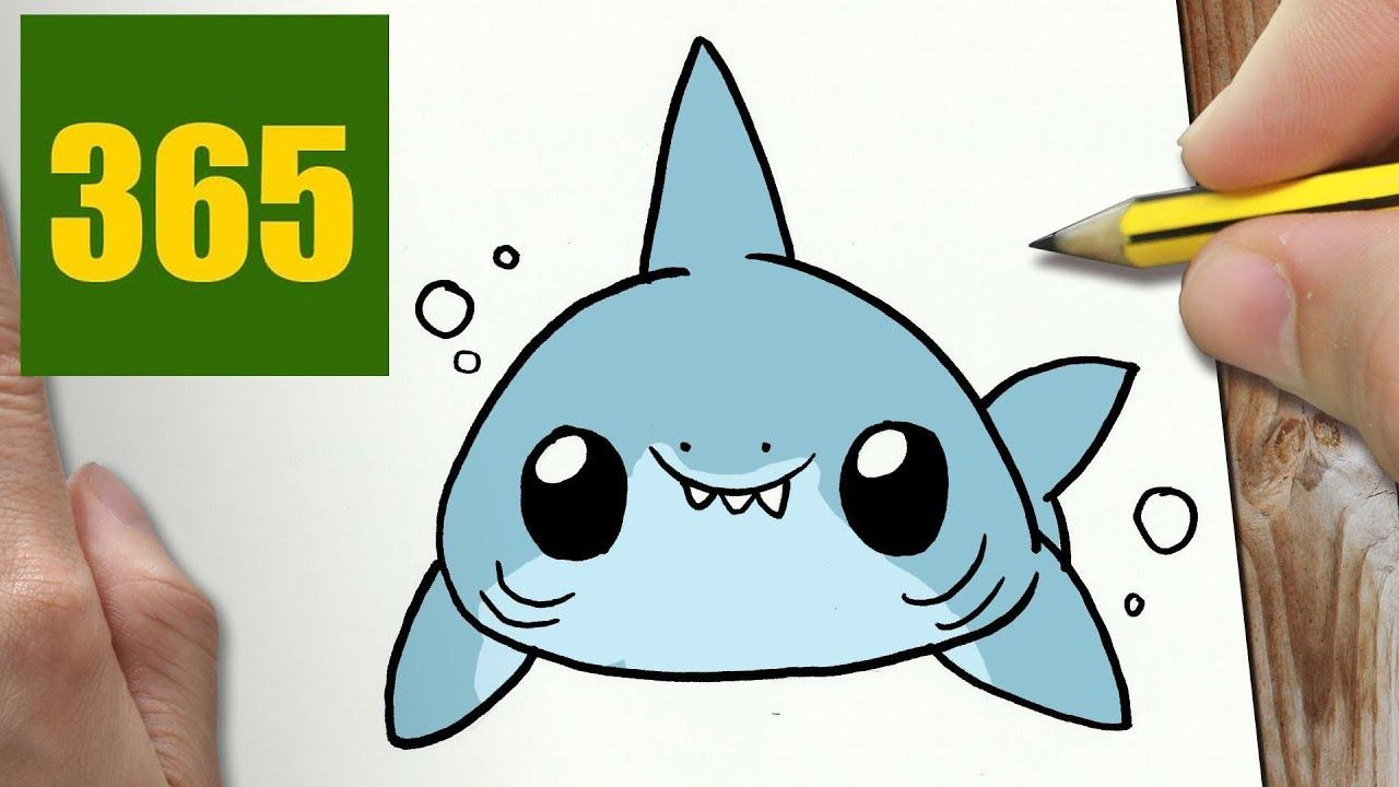 hur man ritar HAJ KAWAII STEG FÖR STEG - kawaii ritningar lätt - YouTube